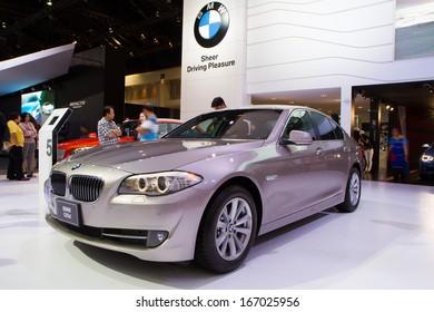 BANGKOK - December 9: BMW 520d car on display at The 30th Thailand International Motor Expo at Impact Muang Thong Thani on December 9, 2013 in Bangkok, Thailand