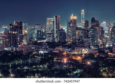 Bangkok downtown by night