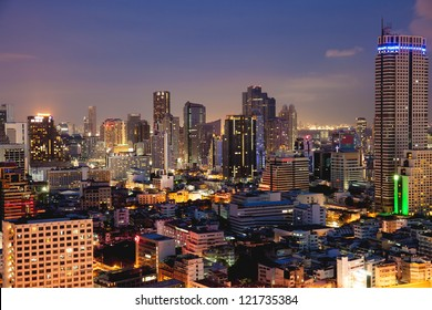 bangkok downtown square night in business zone