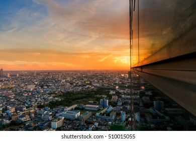 Bangkok downtown at sunset in Thailand