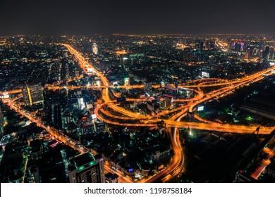 Bangkok Expressway and Highway top view, Thailand
