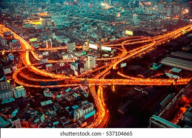 Bangkok Expressway and Highway top view, Thailand, process color.