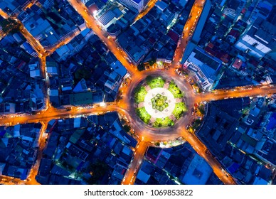 Bangkok Expressway top view, Top view over the highway,expressway and motorway at night, Aerial view interchange of a city, Shot from drone, Expressway is an important infrastructure in Thailand