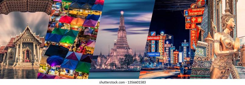 Bangkok famous landmarks collage.
