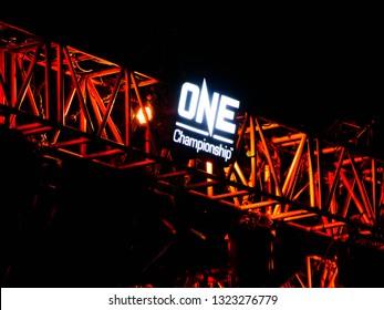 """BANGKOK - Feb 16, 2019: LOGO of One Championship """"One : Warrior Kingdom"""" at Impact Arena, Muang Thong Thani, Bangkok, Thailand"""