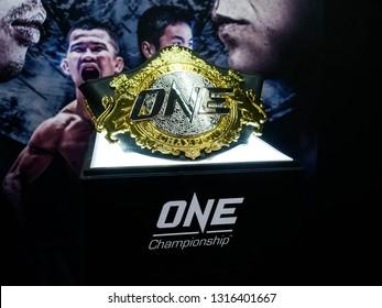 """BANGKOK - Feb 16, 2019: One Championship Belt at podium stand in One Championship """"One : Warrior Kingdom"""" at Impact Arena, Muang Thong Thani, Bangkok, Thailand"""
