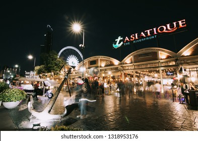 BANGKOK - Feb 19,2019 : Asiatique The Riverfront is a large open-air mall in Bangkok, Thailand. It is situated in the former docks of the East Asiatic Company, and faces the Chao Phraya River