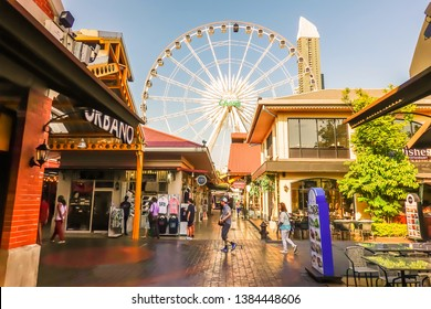 BANGKOK - Feb 19,2019 : Day time of ASIATIQUE The Riverfront Factory District on Feb 19, 2019 in Bangkok, Thailand. Over 500 fashion boutiques housed in Factory District of Asiatique The Riverfront.