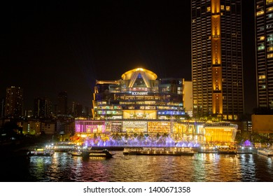 BANGKOK - FEB 23, 2019 : Multimedia light show combined with fountain Icon Siam, Icon Siam Along the Chao Phraya River at , ICONSIAM, Thailand.