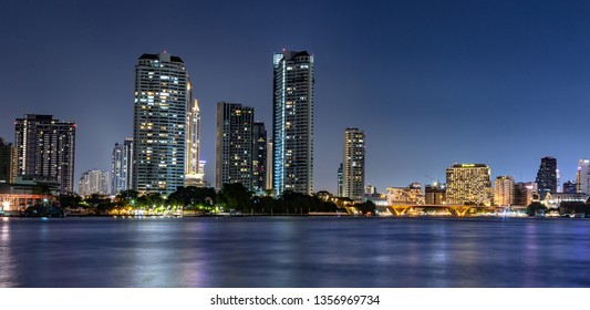 Bangkok, February 22,2019: City skyline view  In the Chao Phraya River of Thailand.