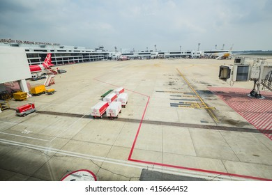 BANGKOK - February 23 : Don Mueang International Airport on February 23,2016 in Thailand.Air Asia is one of airlines in Don Mueang International Airport Bangkok, Thailand