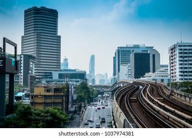BANGKOK - February 26:BTS skytrain railroad tracks,Landscape of Bangkok metropolis Thailand on February 26, 2018.