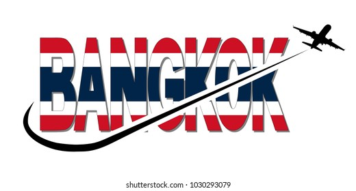 Bangkok flag text with plane silhouette and swoosh illustration