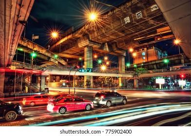 Bangkok Highway Cross at Night