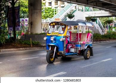 BANGKOK - JAN 1 : Tuk-Tuk on the street in Bangkok, Thailand on January 1, 2019  Samlor or three wheel bike is one of must try in Bangkok trip.