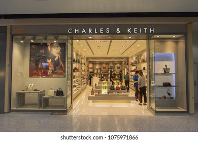 BANGKOK - JAN 10: CHARLES & KEITH store at ION Orchard shopping mall on Jan 10, 2018. It was founded by Charles and Keith Wong. Dedicated to bringing trends to fashion-forward consumers.
