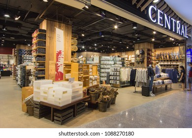 BANGKOK - JAN 10: Interior view of MUJI Store at Central Rama3 Bangkok on Jan 10, 2018. MUJI is popular Japanese brand which sell home and decor items as well as clothing and accesories.