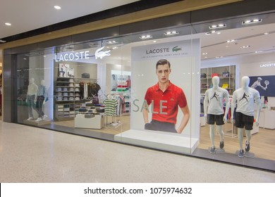 BANGKOK - JAN 10: Lacoste live Store at ION Orchard shopping mall on Jan 10, 2018. Lacoste is a French apparel company that sells high-end clothing, most famously tennis shirts.