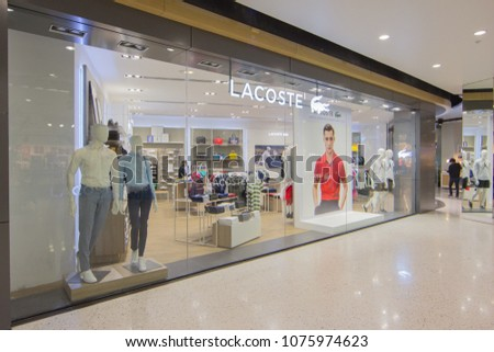3c26f3a7c99 BANGKOK - JAN 10: Lacoste live Store at ION Orchard shopping mall on Jan 10