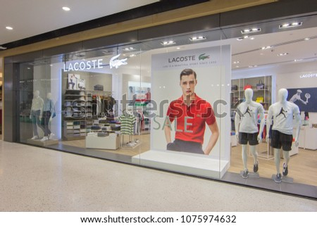 b01c300c7 BANGKOK - JAN 10  Lacoste live Store at ION Orchard shopping mall on Jan 10