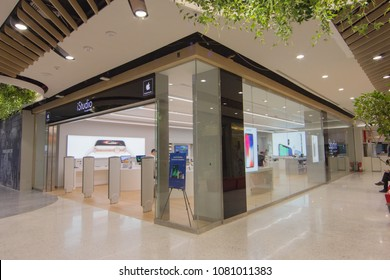 BANGKOK - JAN 10: People shop in Istudio shop, Central Embassy on Jan 10, 2018. It is a premium reseller of Apple Inc in Thailand.