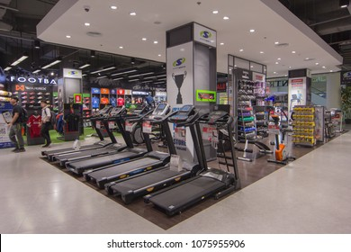 BANGKOK - JAN 10: Super Sports store at Central Salaya, Bangkok on Jan 10, 2018. It is the largest sporting goods reseller in Thailand.