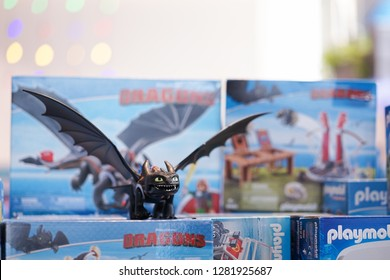 Bangkok - Jan 12, 2019 : A photo of the Night Fury, the main dragon character from How to train your dragon by playmobil. How to train your dragon: The Hidden World is planning to launch Feb 2019,USA.