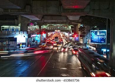 BANGKOK, Jan 19, 2011 - Night time traffic congestion at BTS Siam.