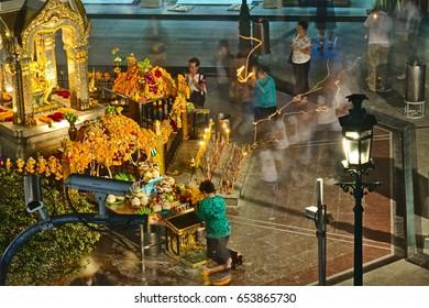 BANGKOK, Jan 19, 2011 - People praying and worshipping at Erawan Shrine in Bangkok.