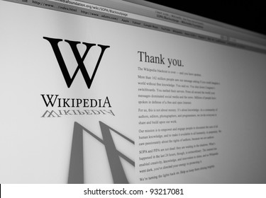BANGKOK - JAN 20:  A computer screen shows Wikipedia announcing the end of the blackout of English Wikipedia against legislation SOPA and PIPA at midnight January 19, 2012 Eastern Time.