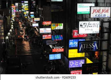 BANGKOK - JAN 22: Nighttime view of Soi Thaniya in Patpong entertainment district, known locally as Little Tokyo, famous for its Japanese oriented nightlife on 22 Jan, 2011 in Bangkok, Thailand.