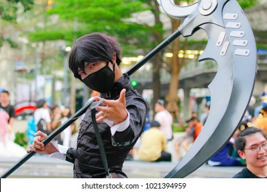 Bangkok - Jan 28: An unidentified Japanese anime cosplay  pose on January 28, 2018 at Central World, Bangkok, Thailand.
