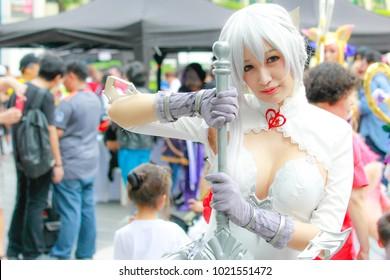 Bangkok - Jan 28: An unidentified Japanese anime cosplay  pose on January 28, 2018 at Central World, Bangkok, Thailand.