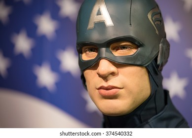 BANGKOK -JAN 29 : A waxwork of Captain America on display at Madame Tussauds on January 29, 2016 in Bangkok, Thailand. Madame Tussauds' newest branch hosts waxworks of numerous stars and celebrities
