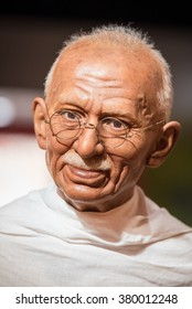 BANGKOK - JAN 29: A waxwork of Mahatma Gandhi on display at Madame Tussauds on on January 29, 2016 in Bangkok, Thailand. Madame Tussauds' newest branch hosts waxworks of numerous stars and celebrities