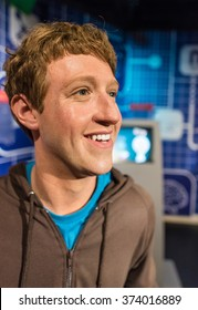 BANGKOK - JAN 29: A waxwork of Mark Zuckerberg on display at Madame Tussauds on January 29, 2016 in Bangkok, Thailand. Madame Tussauds' newest branch hosts waxworks of numerous stars and celebrities