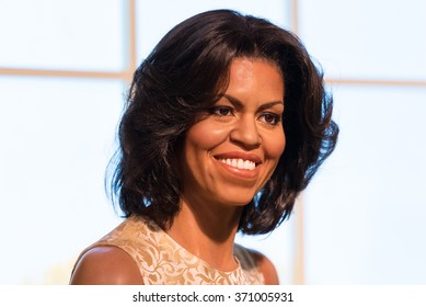 BANGKOK -JAN 29: A waxwork of Michelle Obama on display at Madame Tussauds on January 29, 2016 in Bangkok, Thailand. Madame Tussauds' newest branch hosts waxwork of numerous stars and celebrities
