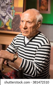 BANGKOK - JAN 29: A waxwork of Pablo Picasso on display at Madame Tussauds on January 29, 2016 in Bangkok, Thailand. Madame Tussauds' newest branch hosts waxworks of numerous stars and celebrities