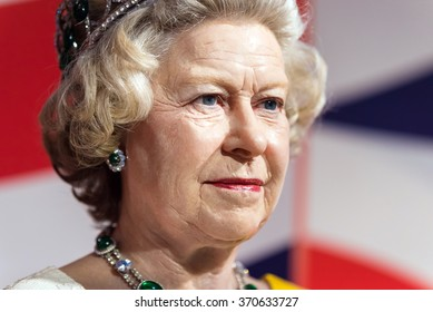 BANGKOK -JAN 29: A waxwork of Queen Elizabeth on display at Madame Tussauds on January 29, 2016 in Bangkok, Thailand. Madame Tussauds' newest branch hosts waxworks of numerous stars and celebrities
