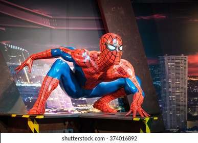 BANGKOK -JAN 29: A waxwork of Spiderman on display at Madame Tussauds on January 29, 2016 in Bangkok, Thailand. Madame Tussauds' newest branch hosts waxworks of numerous stars and celebrities