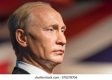 BANGKOK -JAN 29: A waxwork of Vladimir Putin on display at Madame Tussauds on January 29, 2016 in Bangkok, Thailand. Madame Tussauds' newest branch hosts waxworks of numerous stars and celebrities