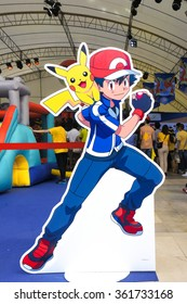 BANGKOK - Jan 9, 2016 : Photo of Satoshi and Pikachu Di-cut for Photo booth on Pokemon Day Event in outdoor tent at Siam Paragon, organised for Children's day in Thailand.