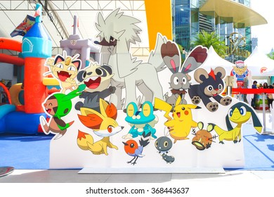 BANGKOK - Jan 9, 2016 : Photo of Group of Pokemon friends Di-cut for Photo booth on Pokemon Day Event in outdoor tent at Siam Paragon, organised for Children's day in Thailand.