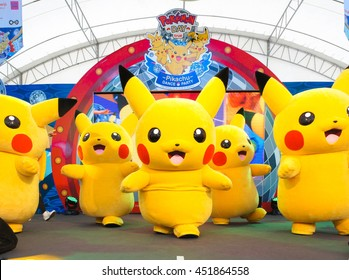 BANGKOK - Jan 9, 2016 : Photo of Pikachu Mascot is dancing on a stage inside an outdoor tent at Siam Paragon, on Pokemon Day Event, organised for Children's day in Thailand. Editorial Used Only.