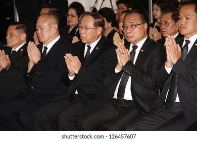 BANGKOK - JAN30:Somsak Kiatsuranont Speaker of the House of Representatives attend the funeral Chumphon Sinlapa-a-cha at Thepsirin temple on January 30, 2013 in Bangkok, Thailand