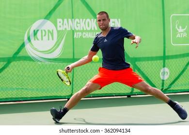 BANGKOK - JANUARY 10 : Mikhail YOUZHNY of Russia in KPN Bangkok Open ATP Challenger Tour 2016 at Rama Gardens Hotel on January 10, 2016 in Bangkok, Thailand.
