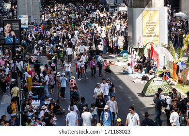 BANGKOK - JANUARY 13 2014: Protesters against the government rally together at Siam Center in Bangkok, Thailand