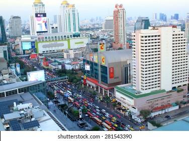 BANGKOK - JANUARY 13 :Panorama Bangkok at sunset on 13 January 2015 in Bangkok, Thailand. Top view. Bangkok is the biggest city in Thailand with 7,02 million inhabitants