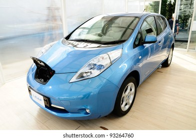 BANGKOK - JANUARY 19: Nissan Leaf, electronic power car from Nissan motor, being displayed at 6th BOI FAIR 2012 on January 19, 2012 in Bangkok, Thailand. The event is from Jan. 6-22, 2012.