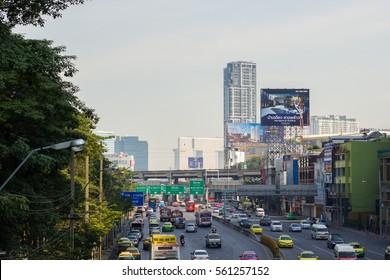 BANGKOK - JANUARY 22, 2017: Traffic on the road 5 Ladprao Intersection in Bangkok, Thailand.